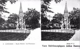 # Vues Stéréoscopiques - Londres - Hyde Park - La Fontaine - Cartes Stéréoscopiques