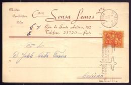 Postal Comercial Loja De Modas CASA SOUSA LEMOS Rua Santo Antonio PORTO - Publicidade PORTUGAL - Porto