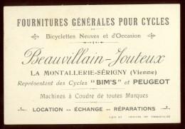 Carte Publicitaire Cycles La Montallerie Sérigny   Vienne - Publicités