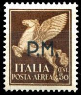 REGNO 1942 Posta Militare Cent. 50 C. Posta Aerea Soprastampato P.M. PM MNH ** Integro - 1900-44 Vittorio Emanuele III
