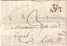 VAUCLUSE - 89 APT - 20 JANVIER 1823 - LETTRE AVEC TEXTE ET SIGNATURE - TAXE 3 MANUSCRITE. - Marcophilie (Lettres)
