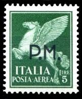 REGNO 1942 Posta Militare Lire 5 L. Posta Aerea Soprastampato P.M. PM MNH ** Integro - 1900-44 Vittorio Emanuele III