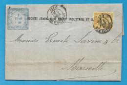Sage YT92 Sur Lettre De Paris Pour Marseille. LAC De 1880 - Marcofilie (Brieven)