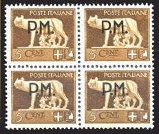 REGNO 1942 Quartina Posta Militare Cent. 5 C. Soprastampata P.M. PM MNH ** Integra - 1900-44 Vittorio Emanuele III