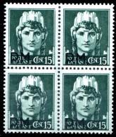 REGNO 1942 Quartina Posta Militare Cent. 15 C. Soprastampata P.M. PM MNH ** Integra - 1900-44 Vittorio Emanuele III
