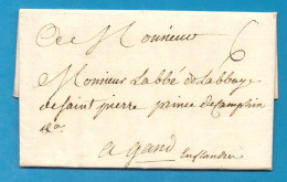 Paris Pour L'abbé De L'abbaye De St Pierre, Rince De Camphin (?) à Gand (Pays Bas Autrichien / Flandre). 1767 - Marcophilie (Lettres)