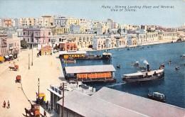 "05555 ""MALTA - SLIEMA LANDING PLACE AND GENERAL VIEW  OF SLIEMA"" ANIM. BARCHE, BATTELLI. CART. POST. ORIG. NON SPEDITA. - Malta"