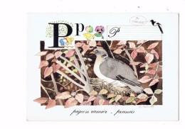 """Lettre Alphabet """" P"""" De La Nature - ILLUSTRATION PIGEON Ramier PIE POMME PENSÉE Poussin  - TOUVAY - Vögel"""