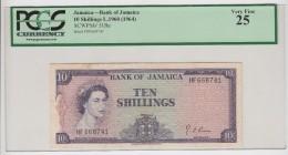 JAMAICA 10 SHILLINGS 1960 (1964) PCGS 25 VF QEII Pick 51Be 51B E - Jamaique