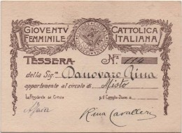 Tessera Della Gioventù Cattolica Femminile Italiana Obliterata Anno 1921-1922 - Imágenes Religiosas
