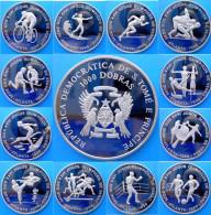 SAINT THOMAS & PRINCE 12X1000 D 1996 CU NI PROOF BRUNITE ATLANTA OLIMPYCS MINTAGE 1000 PCS RARE UNC - Sao Tomé E Principe