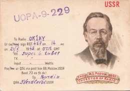 RADIO OKIKI USSR Gel.1948, Stempel QSL Büro Moscew - Radio