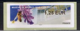 ATM, 1.25€, NABUCCO,  WINCOR-NIXDORF DU BUREAU DE POSTE DE ,BOURGES, ABEILLE, MUSEUM DE BOURGES,  20/05/2016. - 2010-... Viñetas De Franqueo Illustradas