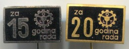 OLT Osijek Croatia - Agro Mechanization Agricultural Machinery, Vintage Pin Badge, Enamel 2 Pieces - Merken