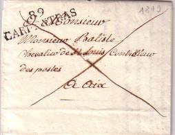 VAUCLUSE - 89 CARPENTRAS - 14 JANVIER 1819 - LETTRE AVEC TEXTE ET SIGNATURE  POUR LE CONTROLEUR DES POSTES A AIX - Marcophilie (Lettres)
