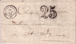VAUCLUSE - SAULT DE VAUCLUSE - T15 DU 19-12-1851 - TAXE MANUSCRITE DOUBLE TRAIT 25 - AVEC TEXTE ET SIGNATURE. - Marcophilie (Lettres)