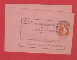 Avis De Réception   --  Amiens --  14/5/1912 - Documents Of Postal Services
