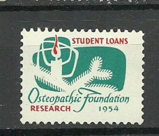 USA Vignette 1954 Christmas Student Loans Osteopathic Association Research MNH - Erinofilia