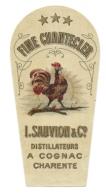 """Ancienne Etiquette  Fine Chantecler """"Coq"""" L Sauvion & Cie Distillateurs à Cognac Charente étiquette Vernie - Etiquettes"""