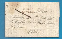 Nièvre - Nevers Pour Paris. LAC En Port Payé De 1826 - Marcophilie (Lettres)