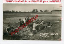 Futur SOLDAT-ENFANT-UNIFORME-Preparation ENFANTINE Au Militaire-Influence-Carte Photo All-Guerre 14-18-1 WK-Militaria-Fe - Guerre 1914-18