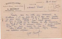 71 PONTANEVAUX La Chapelle De Guinchay COURRIER 1946  Quincaillerie A. BERRAT  -  Y69 - 1900 – 1949