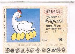 Billets Loterie Nationale  PAQUES   1983                  LOT  43 - Billets De Loterie