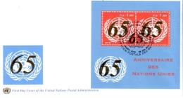 Enveloppe 1er Jour BF 65ème Ann Nations-Unies 2010 ONU Genève - Spécimen - FDC