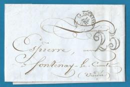 France - LAC Non Affranchie De LA ROCHELLE à FONTENAY-LE-COMTE Du 15/12/1850 - Cachet-taxe 25cts - 1849-1876: Periodo Classico