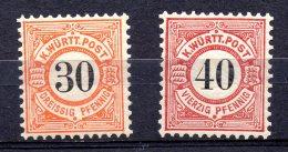 WURTEMBERG.  AÑO 1900 .  Mi 61/62 (MNH) - Wurtemberg