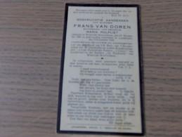 Frans VAN DOREN, Echtgenoot Van Maria POLFLIET Westrode Wolverthem 1865-1929 Londerzeel - Historische Dokumente