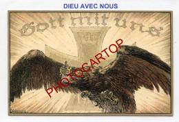 PROPAGANDE Militaire-GOTT MIT UNS-Aigle-CARICATURE-SATIRE-DESSIN-Carte Allemande-Guerre 14-18-1 WK-Militaria-Feldpost- - Oorlog 1914-18