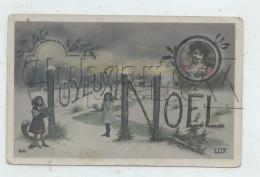 Noël (Fêtes) : Joyeux Noël Avec Lettres En Tronc D'arbre En 1908 (animée) PF. - Noël