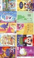 LOT DISNEY JAPAN * 10 CARTES PREPAYEES Japon (LOT 43) 10 Japan PREPAIDCARDS * 10 DISNEY KARTEN - Disney