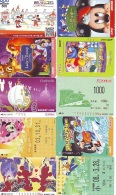 LOT DISNEY JAPAN * 10 CARTES PREPAYEES Japon (LOT 55) 10 Japan PREPAIDCARDS * 10 DISNEY KARTEN - Disney