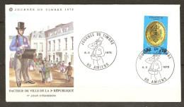 FRANCE FDC 1er JOUR AMIENS 8/3/1975 JOURNÉE DU TIMBRE FACTEUR DE VILLE DE LA 2 ème RÉPUBLIQUE - Y & T N° 1838 - FDC