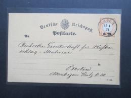 Brustschild Nr. 18 Einfachfrankatur Auf Einer Postkarte. Stempel K1 Labes. Deutsche Gesellschaft Für Hufbeschlag. - Deutschland
