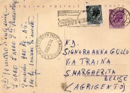 1965 CARTOLIN7A   CON ANNULLO PALERMO + S. MARGHERITA B. AGRIGENTO + TARGHETTA - Interi Postali