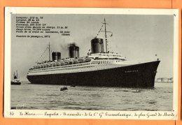 """MAI214, Paquebot """"Le Normandie"""", Compagnie Transatlantique, 85, Trous De Punaises, Circulée Sous Enveloppe - Steamers"""
