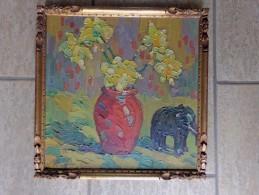 Bloempot Met Narcissen En Een Olifantbeeldje Door Onduidelijk Gesigneerd - Olieverf