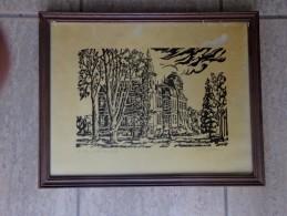 Lino ¨Kasteel Brasschaat¨ Door Ronald Josse  48/100 Ex. - Lithographies