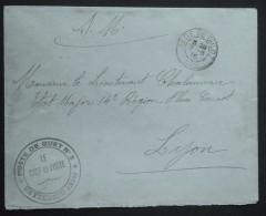Cachet POSTE DE GUET N°8 CEYZERIEU AIN Sur Enveloppe Franchise Militaire Oblitération GARE DE CULOZ 1916 Vers Lyon - Guerre De 1914-18