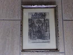 Notre Dame Du Sablon Bruxelles D' Apres Une Eau-forte D' Henri Mortiaux - Dessins