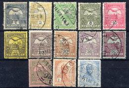 HUNGARY 1913 Definitive With Patriarch Cross Watermark Sideways Except 60f Green, Used.  Michel 109Y-125Y Except 122Y - Hungría