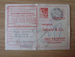 06.11.1957, WERBEKARTE HONIGHAUS SEIBOLD Mit STEMPEL Von NEUBRUNN über BAMBERG 2, NACHGEBÜHR - Cartas