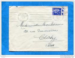 """Marcophilie-"""" ANOMALIE""""CURIOSITE""""-lettre -affranchie 90c Type Paix-cad1939 """"BLOC DATEUR Datée 22-le 2ème 39 - Marcophilie (Lettres)"""