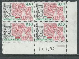 France  N° 2311 XX Légion étrangère En Bloc De 4 Coin Daté Du  18 . 4 . 84 ; 2 Traits Sans Charnière, TB - 1980-1989