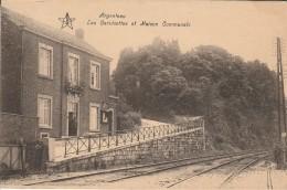 Argenteau Les Bertisettes Et Maison Communale Rails Du Train Trace De Colle Au Verso - Visé