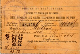 POSTES  ET  TELEGRAPHES   - Carte D'Admission Aux Cabines Téléphoniques Publiques De Paris  - Avec Cachet - 1918 - Téléphonie