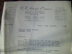 Vieux  Papiers Lettre A Entete  Societee De Tissus Franco Americaine Macy Et Cie A Paris Rue Louis Le Grand Annee 1939 - United States